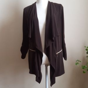 Chicos Brown Open Front Cardigan Roll tab Sleeves